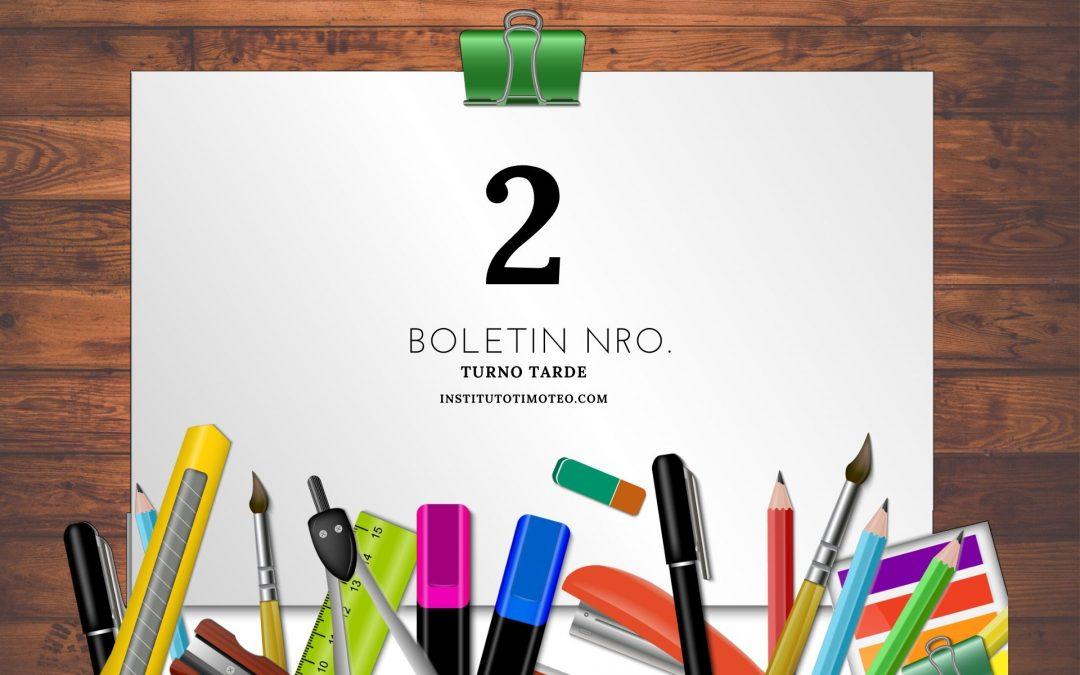 Boletin Nro. 2 Turno Tarde 2020